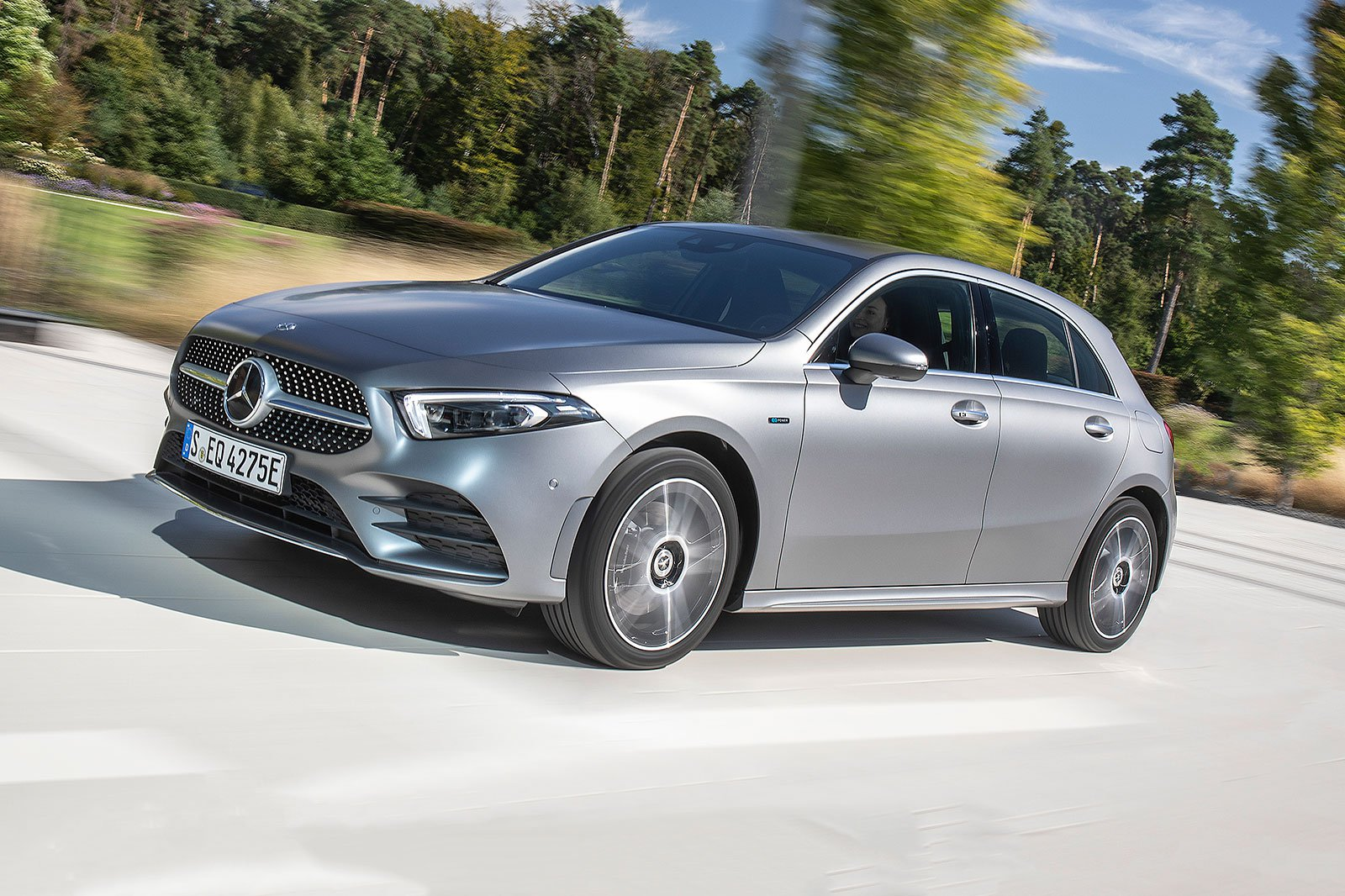2019 mercedes a 250 e silver driving front