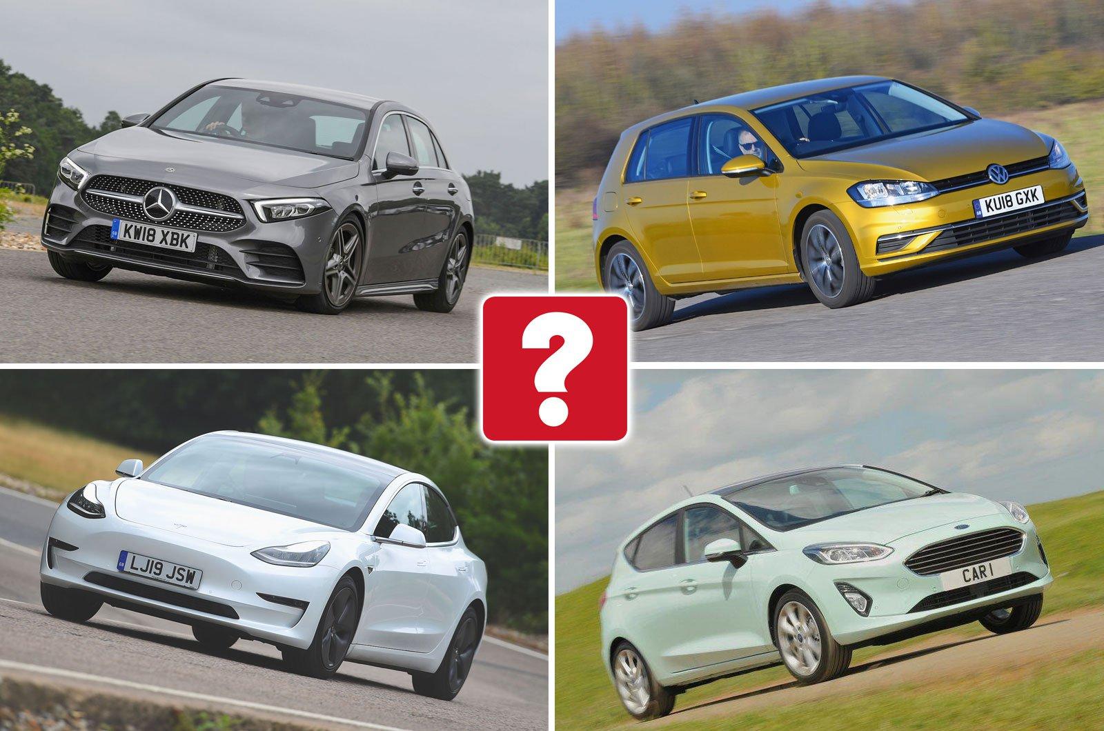 Mercedes A-Class, Volkswagen Golf, Tesla Model 3, Ford Fiesta