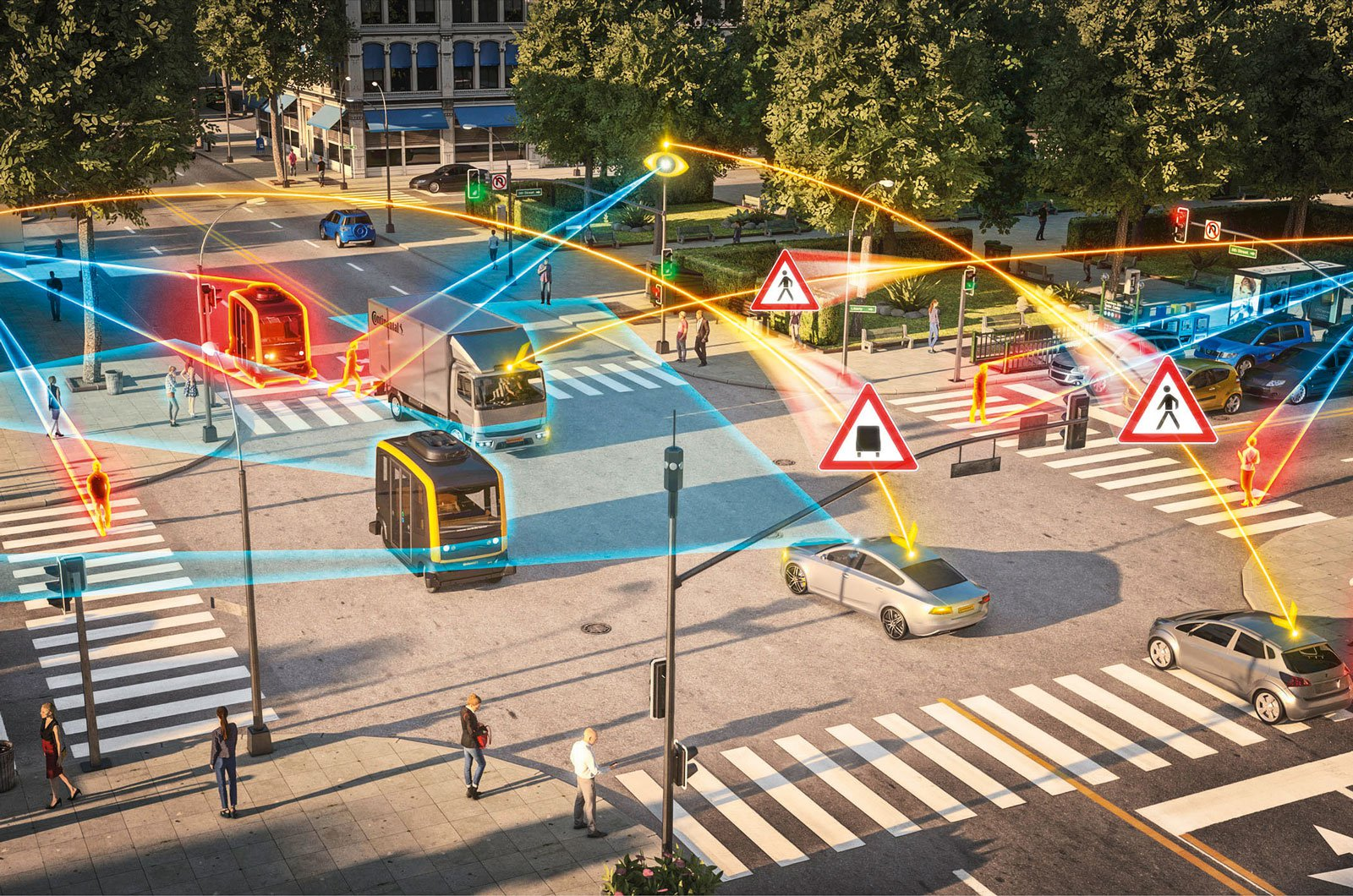 Depiction of a future junction with all the cars connected