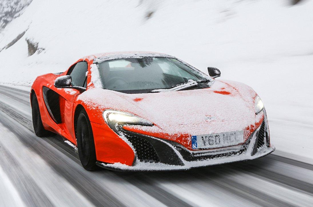 McLaren 650S driving in snow