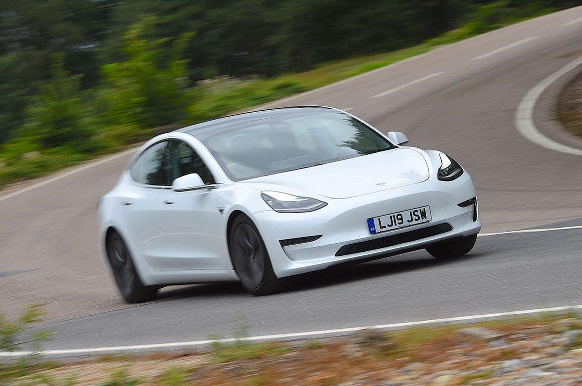 Tesla Model 3 driving