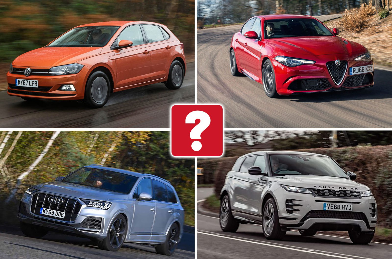 Volkswagen Polo, Alfa Romeo Giulia Quadrifoglio, Audi Q7, Range Rover Evoque