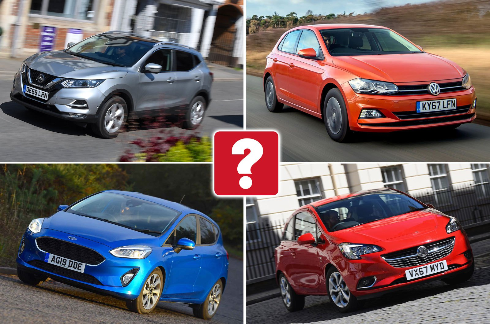 Nissan Qashqai, Volkswagen Polo, Ford Fiesta, Vauxhall Corsa