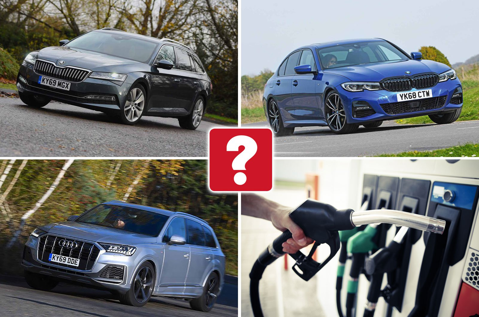 Skoda Superb Estate, BMW 3 Series, Audi Q7