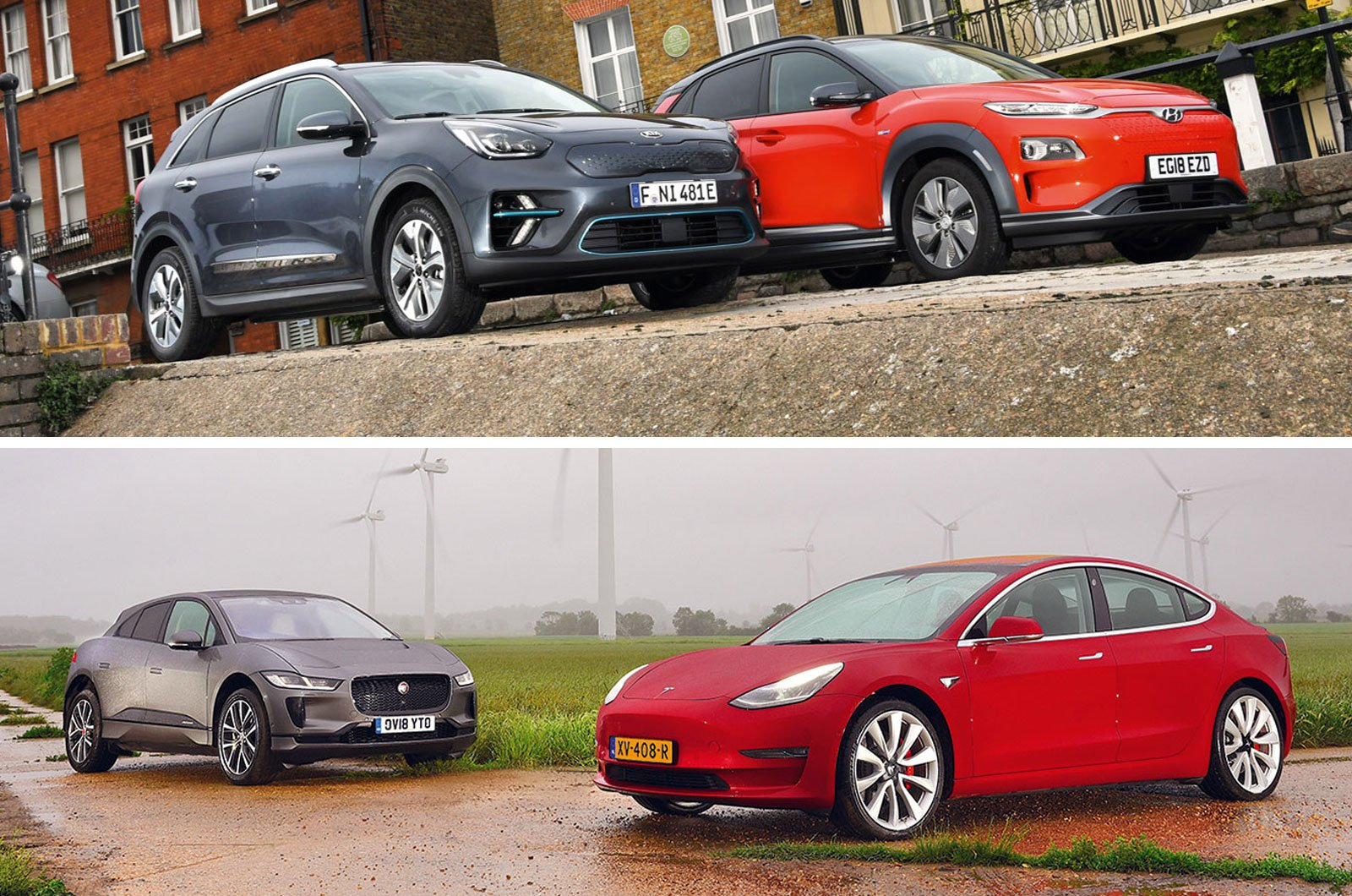 Kia e-Niro, Hyundai Kona Electric, Jaguar I-Pace, Tesla Model 3