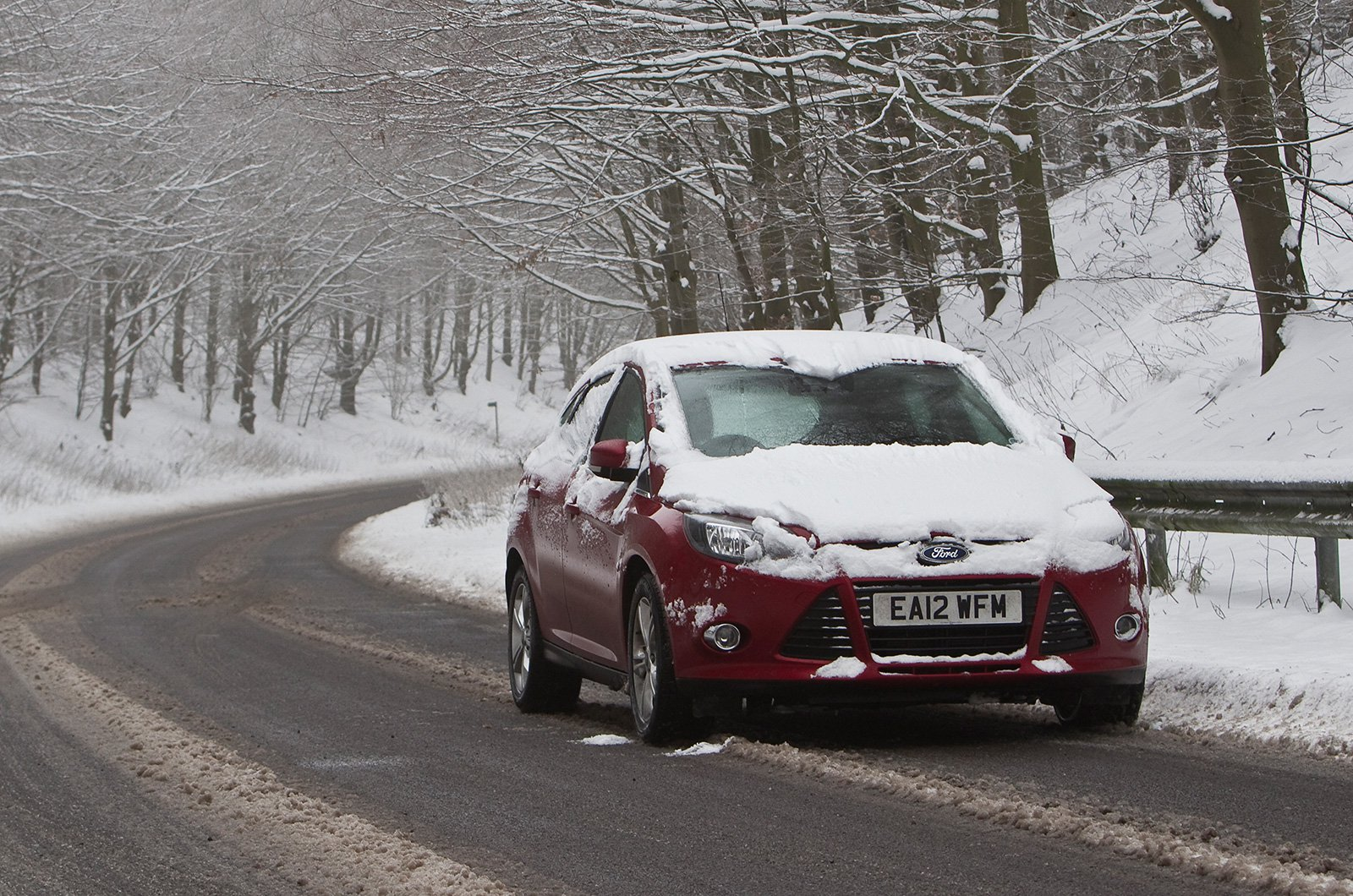 Ford Focus front covered in snow