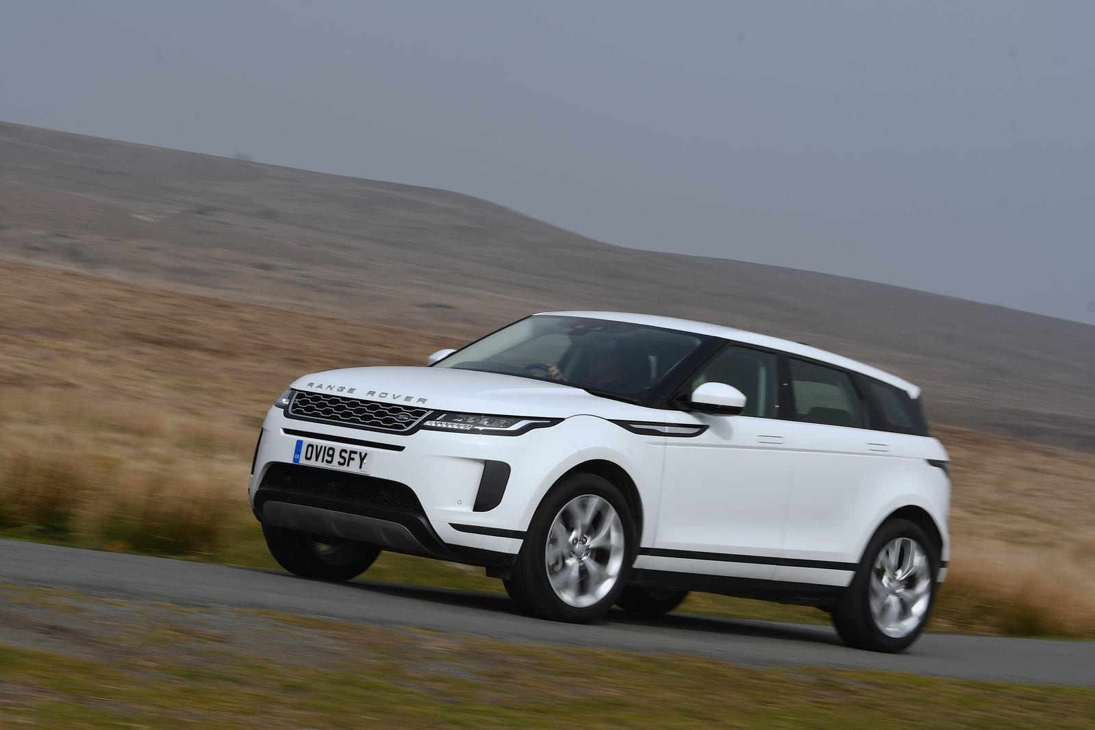2019 Land Rover Range Rover Evoque front left tracking wide RHD