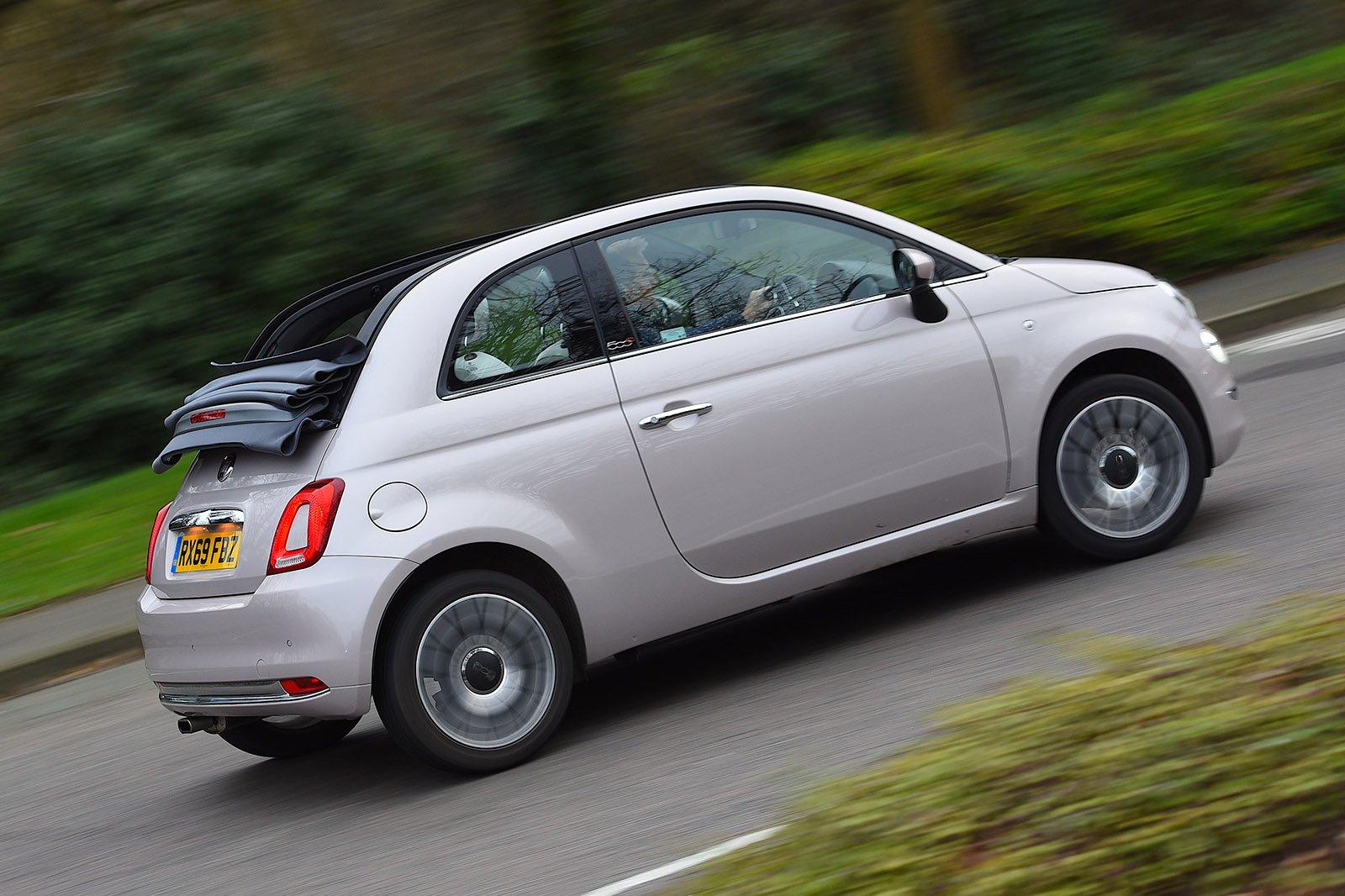 Fiat 500C 2020 RHD rear tracking roof open