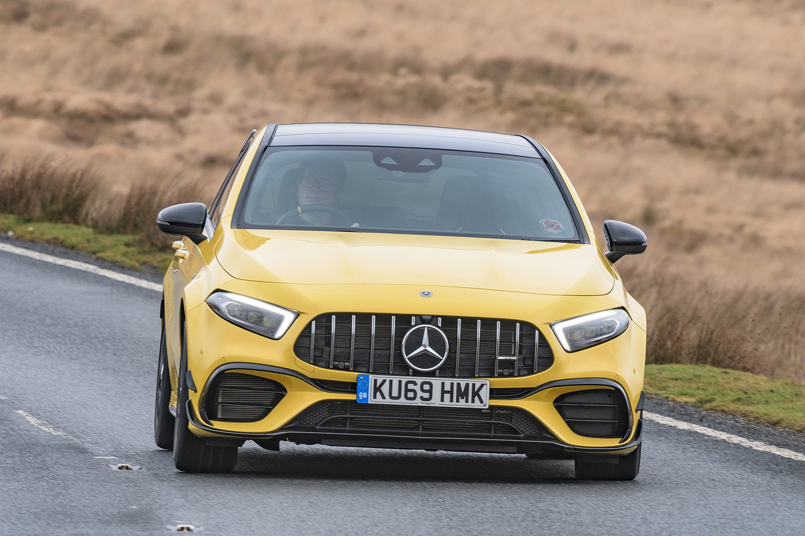 Mercedes A45 AMG 2020 RHD head on cornering