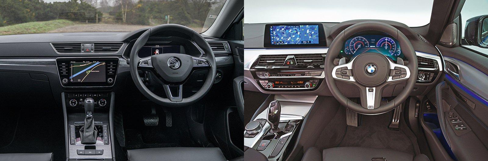 New Skoda Superb iV vs used BMW 530e: interior