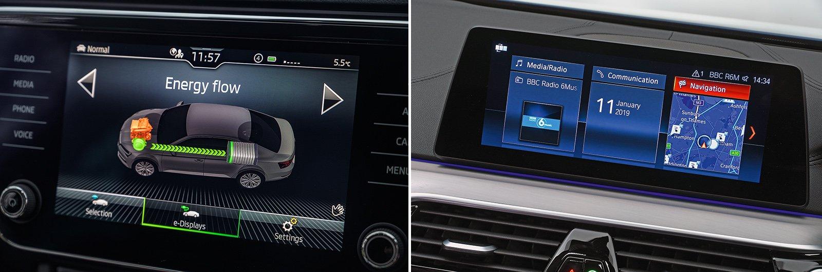 New Skoda Superb iV vs used BMW 530e: – infotainment