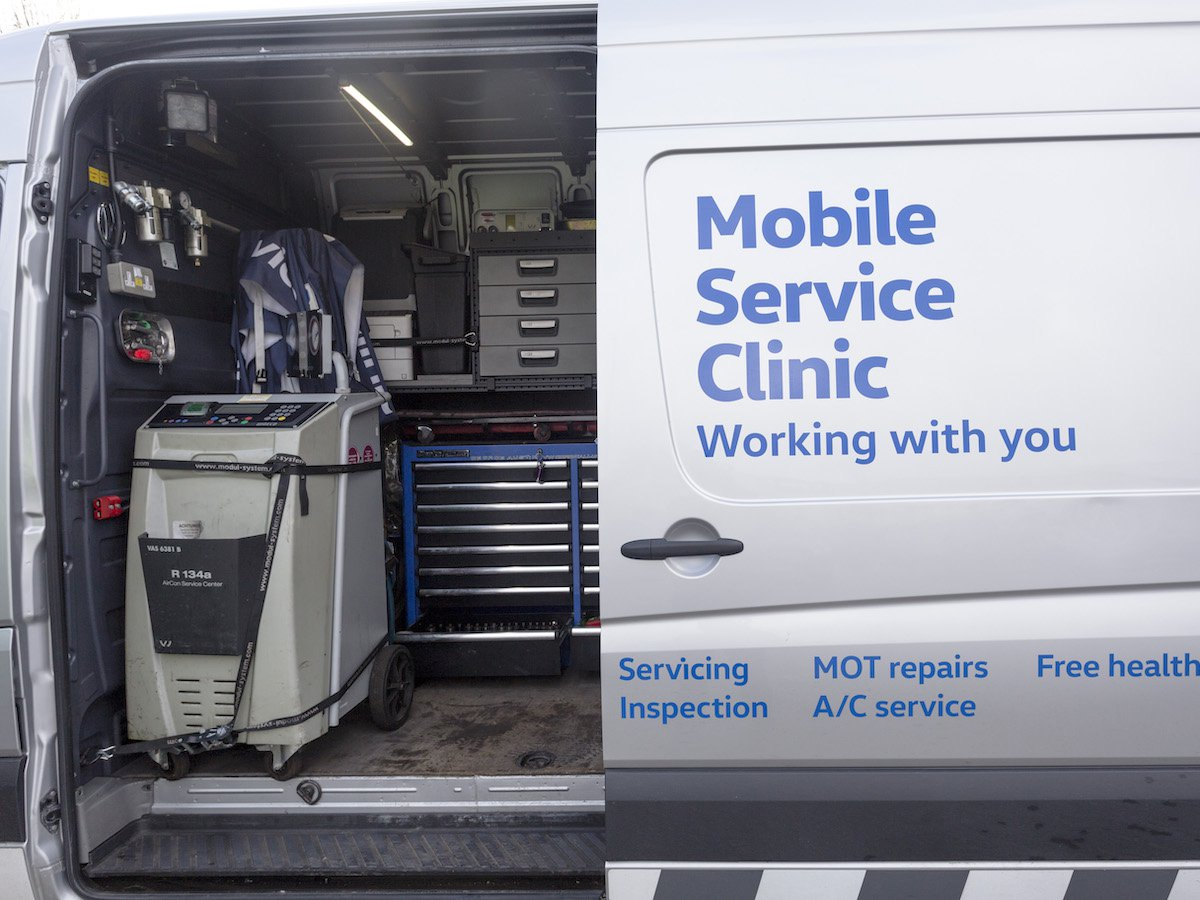 The Mobile Service Clinic Volkswagen Crafters are packed with heavy-duty boxes containing all the essential tools needed to keep the full range of Volkswagen Commercial Vehicles models working