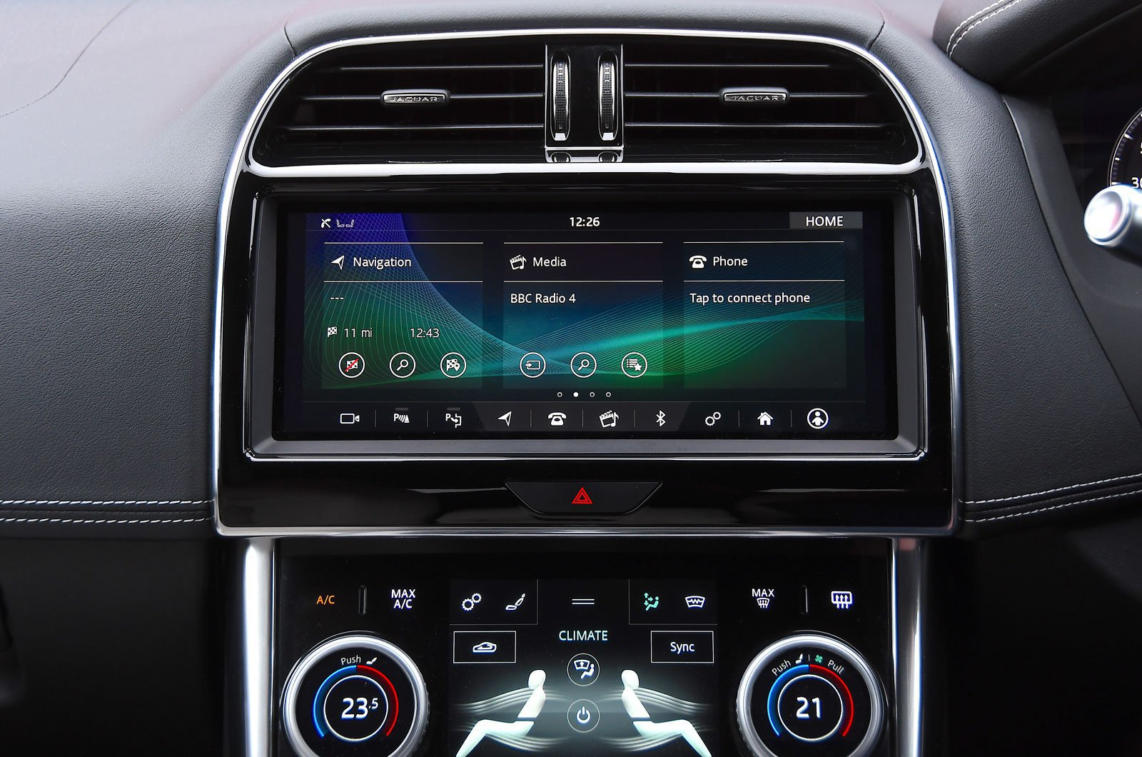 Jaguar infotainment screen
