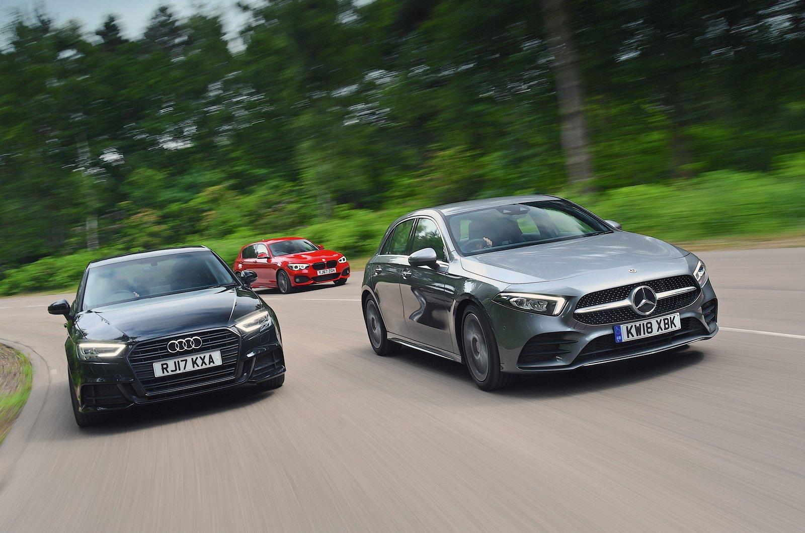 Audi A3 vs BMW 1 Series vs Mercedes A-Class front