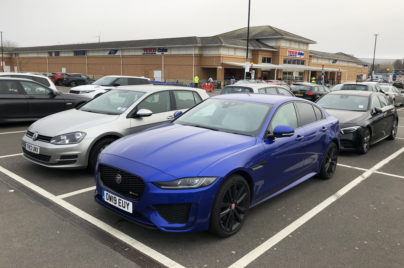 LT Jaguar XE parked at supermarket