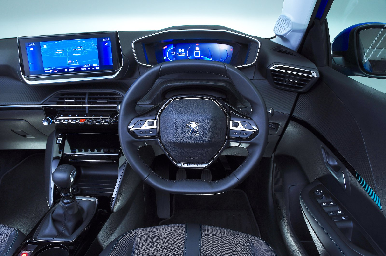 Peugeot 208 dashboard - blue 69-plate car