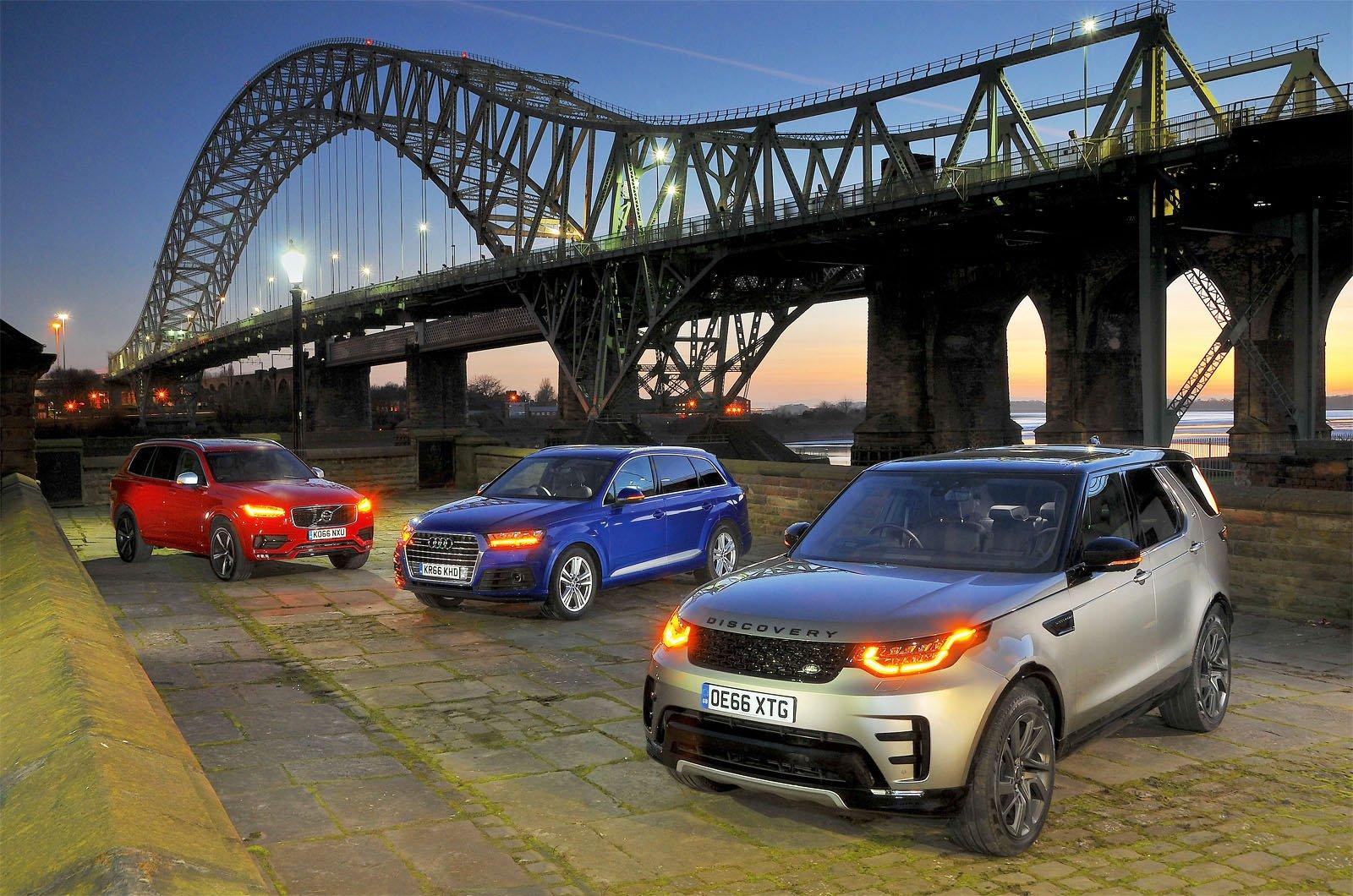 Audi Q7 vs Land Rover Discovery vs Volvo XC90 under bridge