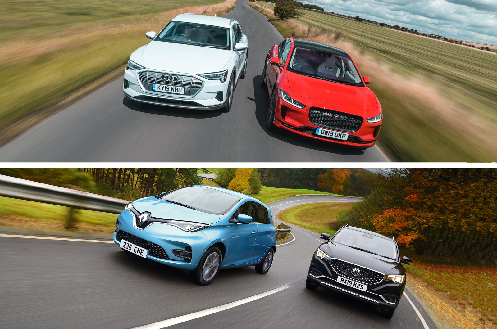 Audi E-tron with Jaguar I-Pace and Renault Zoe with MG ZS EV