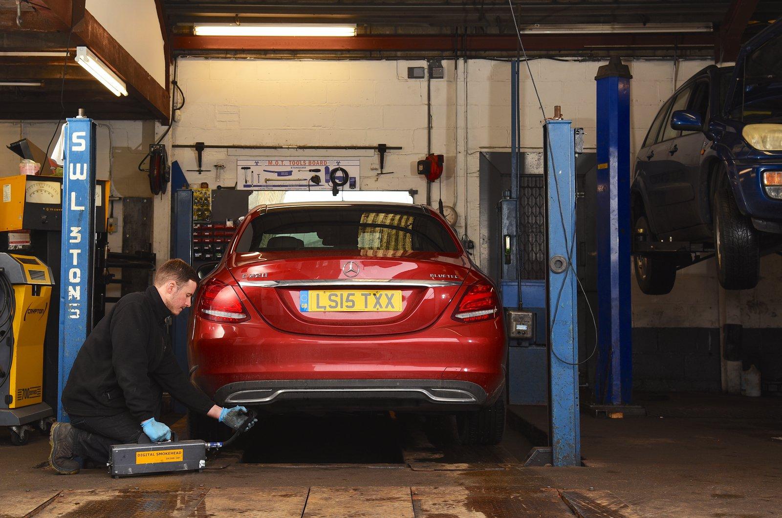 MOT garage - Mercedes C-Class being tested