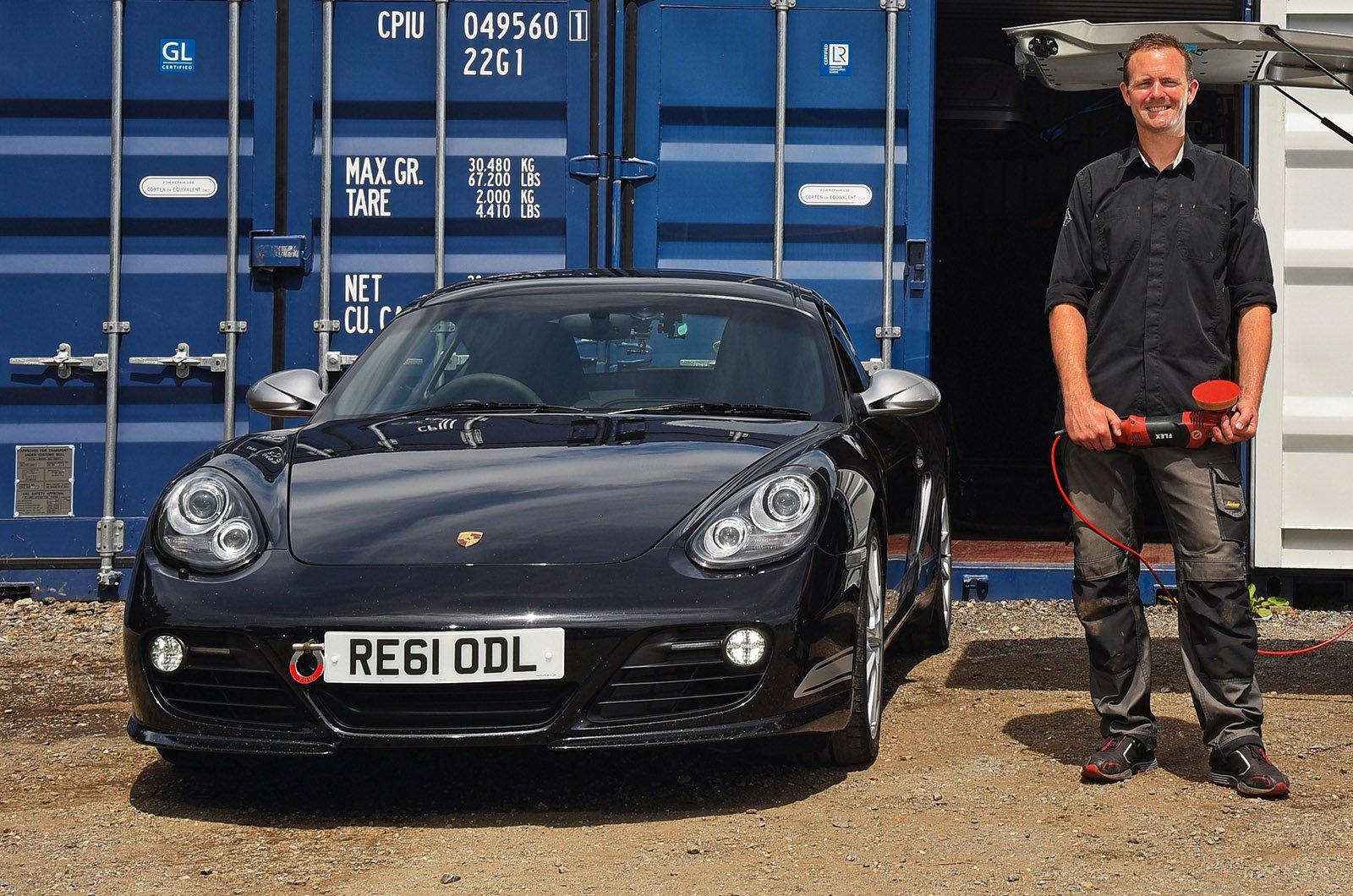 Car detailer with a Porsche Cayman