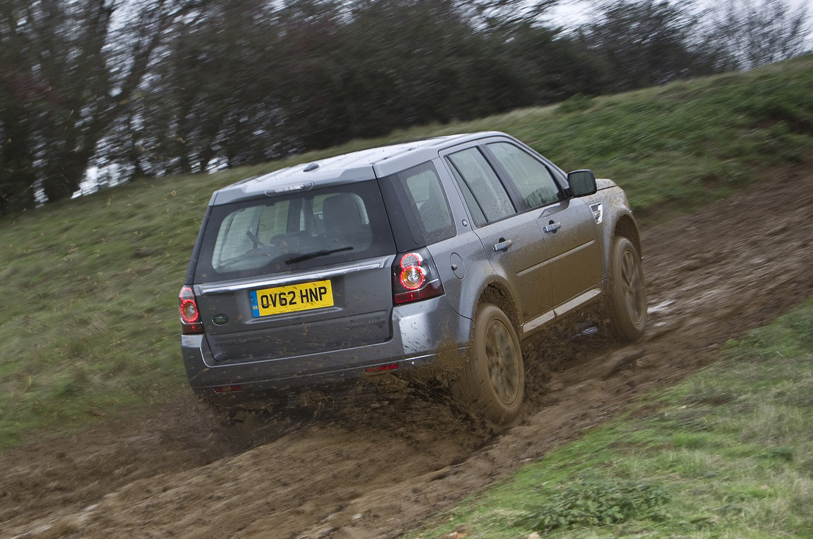 Land Rover Freelander rear up muddy hill