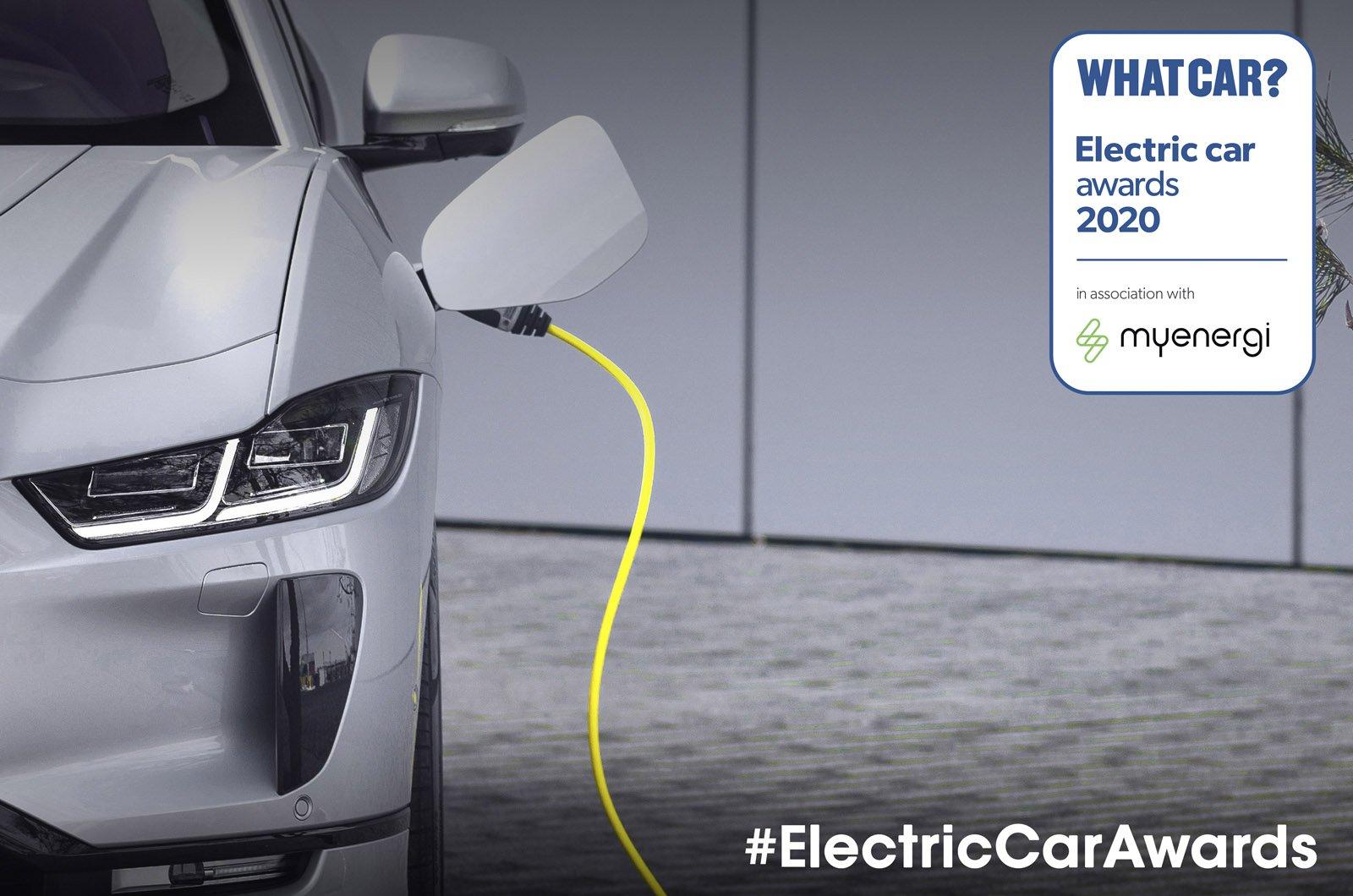 Jaguar I-Pace charging with Electric Car Awards logo