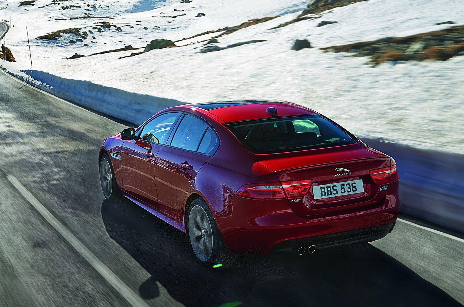 Jaguar XE on wintry road