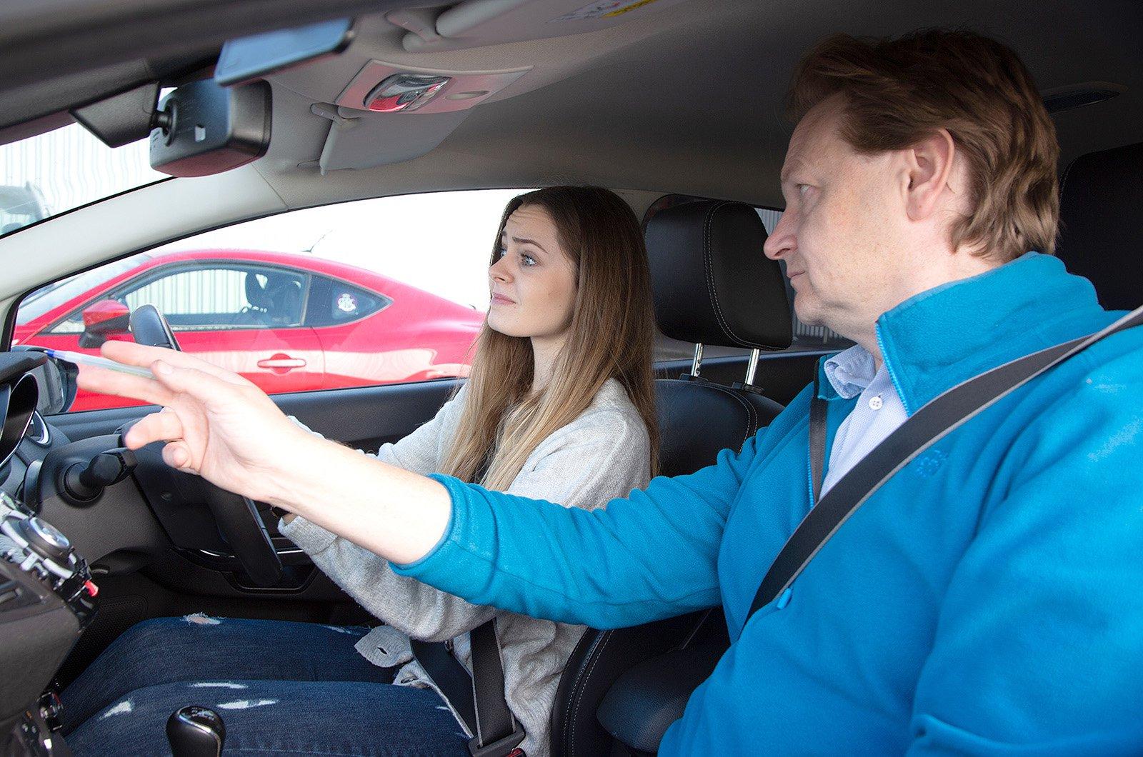 Learner driver looking nervous