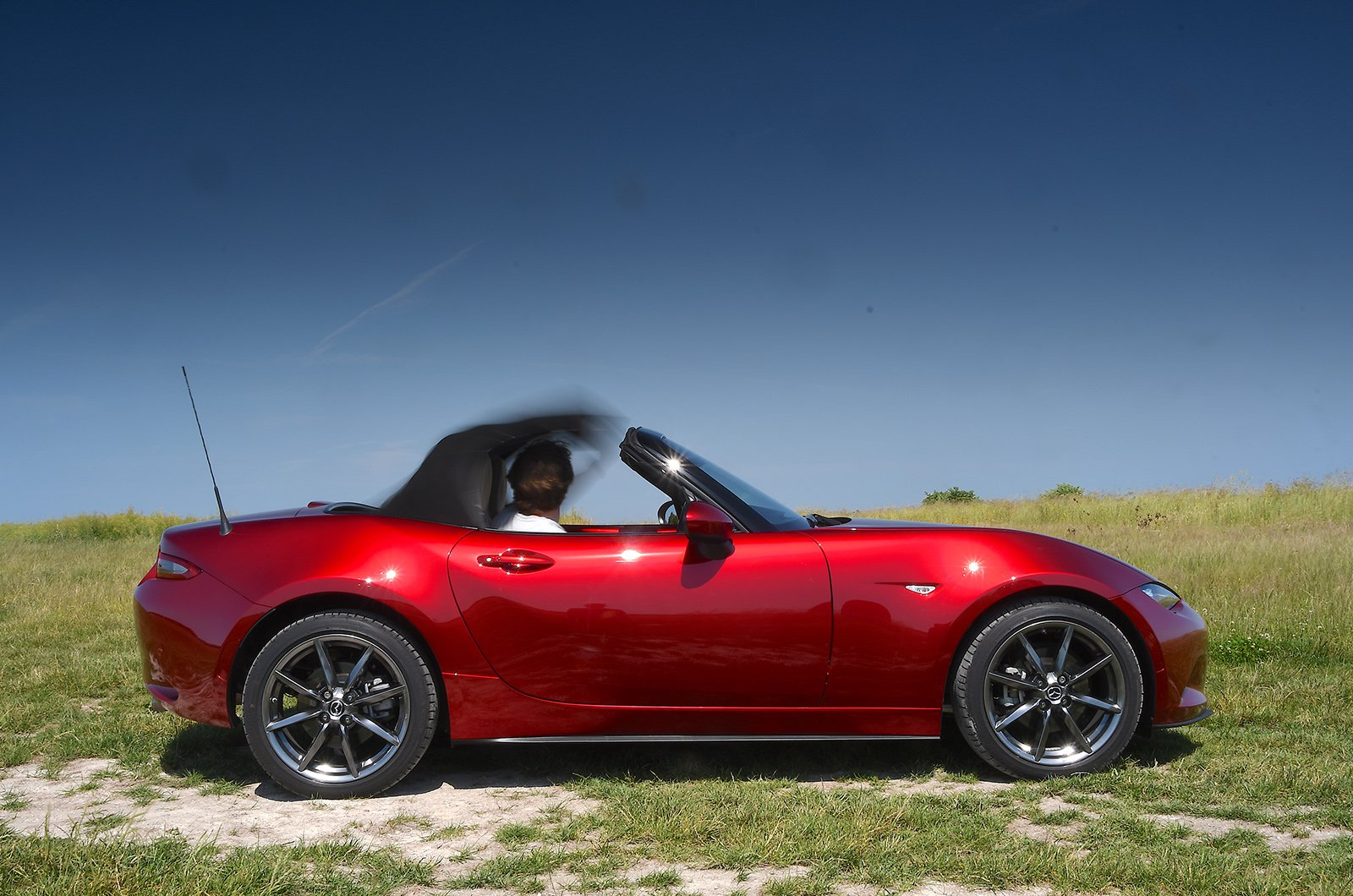 Used Mazda MX-5 long-term blurred hood in action