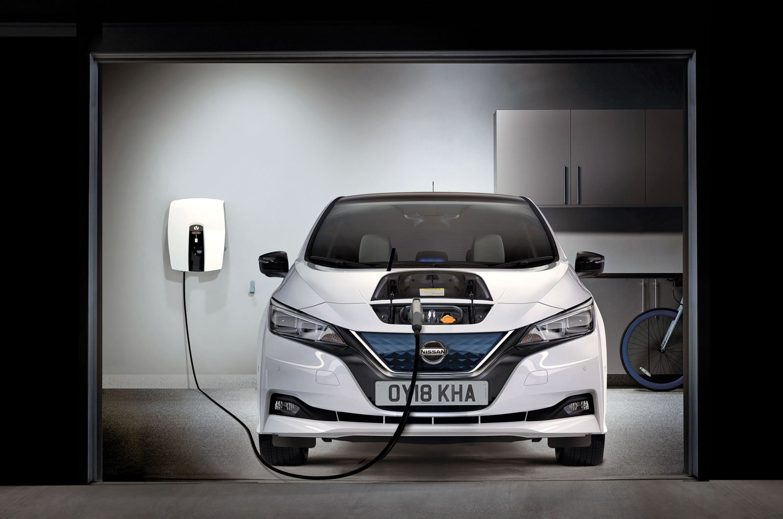 Nissan Leaf charging in garage