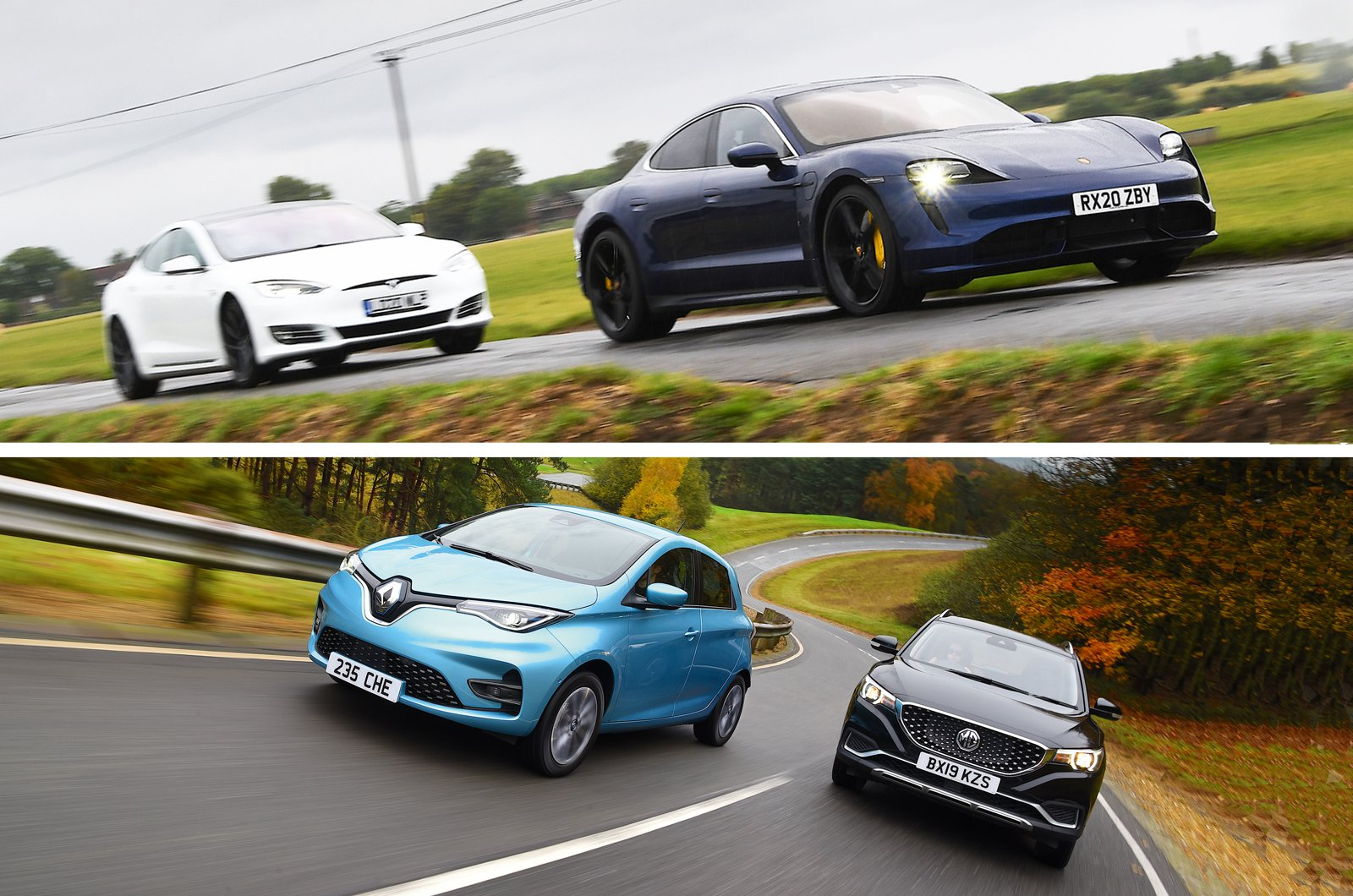 Tesla Model S with Porsche Taycan and Renault Zoe with MG ZS EV