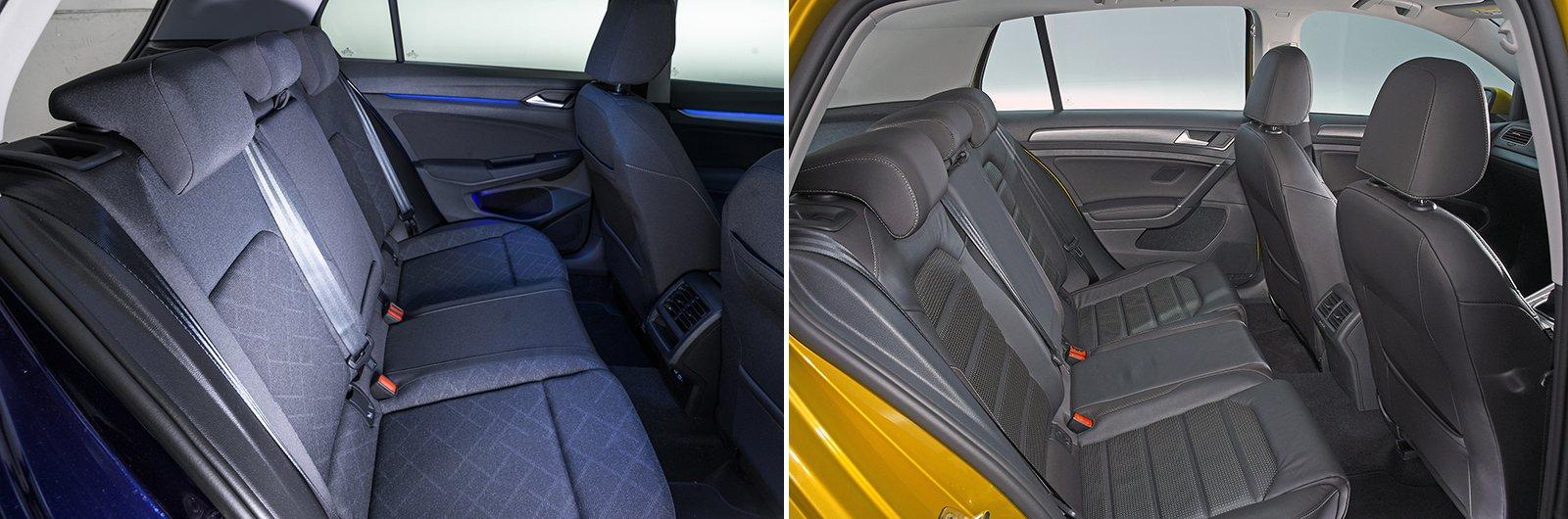 New Volkswagen Golf vs used Volkswagen Golf - rear seat space