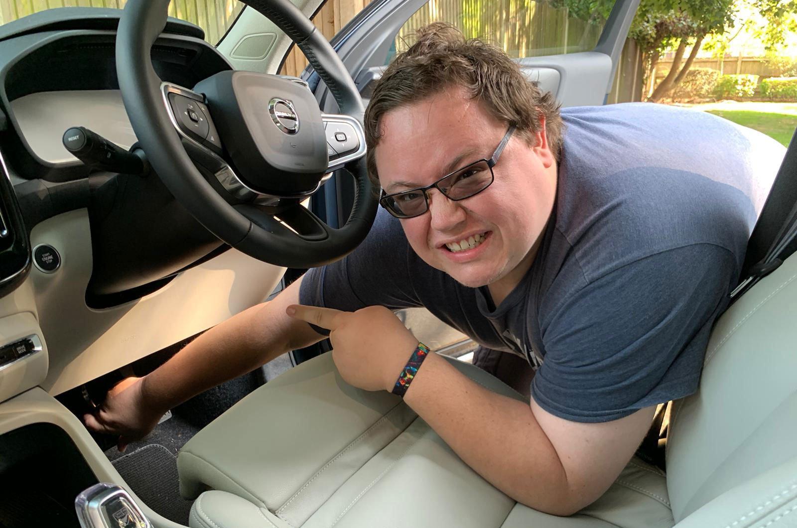 Darren pointing to XC40 brake pedal