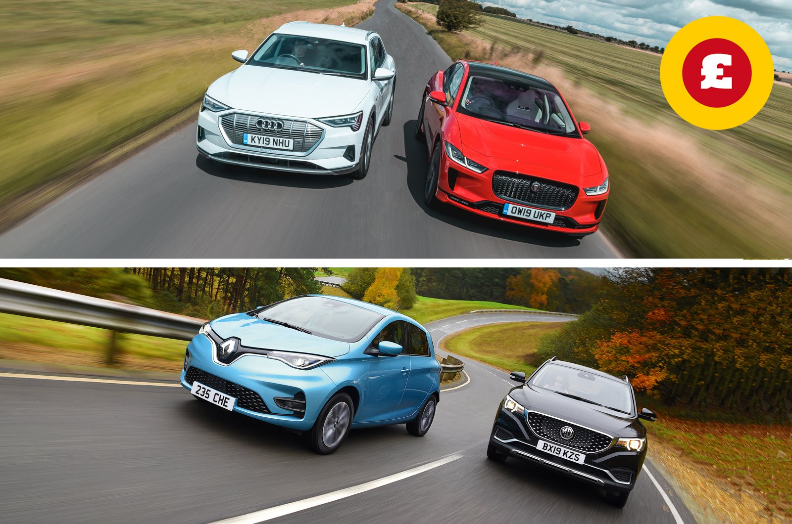 Audi E-tron, Jaguar I-Pace, Renault Zoe and MG SZ EV