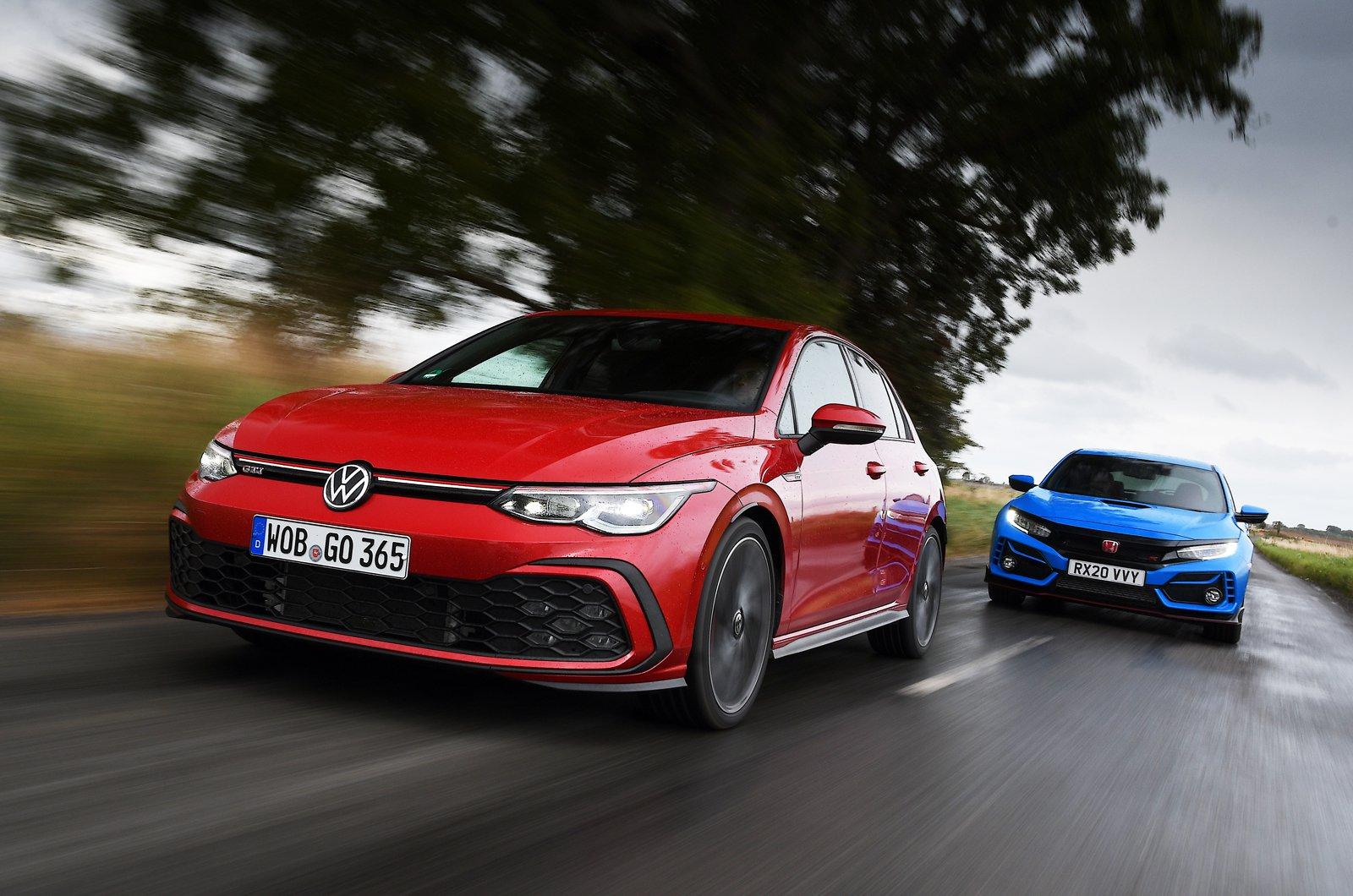New Volkswagen GTI vs Honda Civic Type R fronts