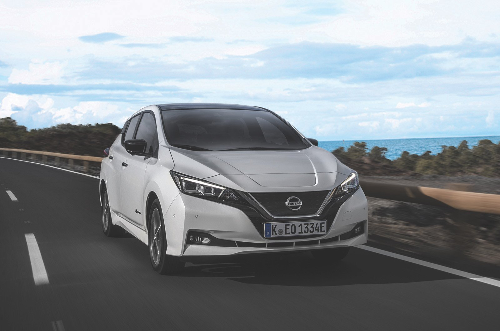 Nissan LEAF front three-quarters