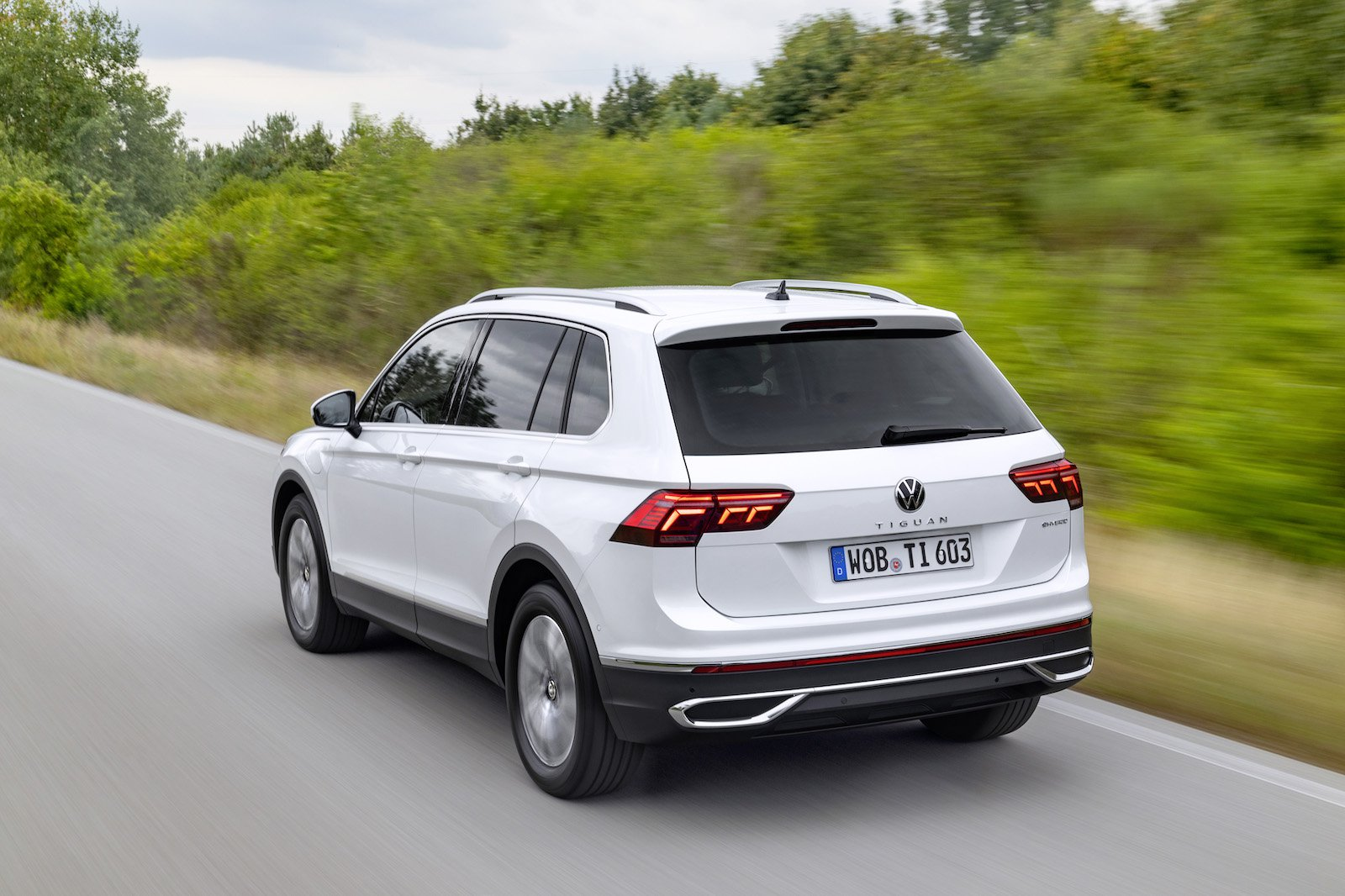 2021 VW Tiguan eHybrid rear three quarter