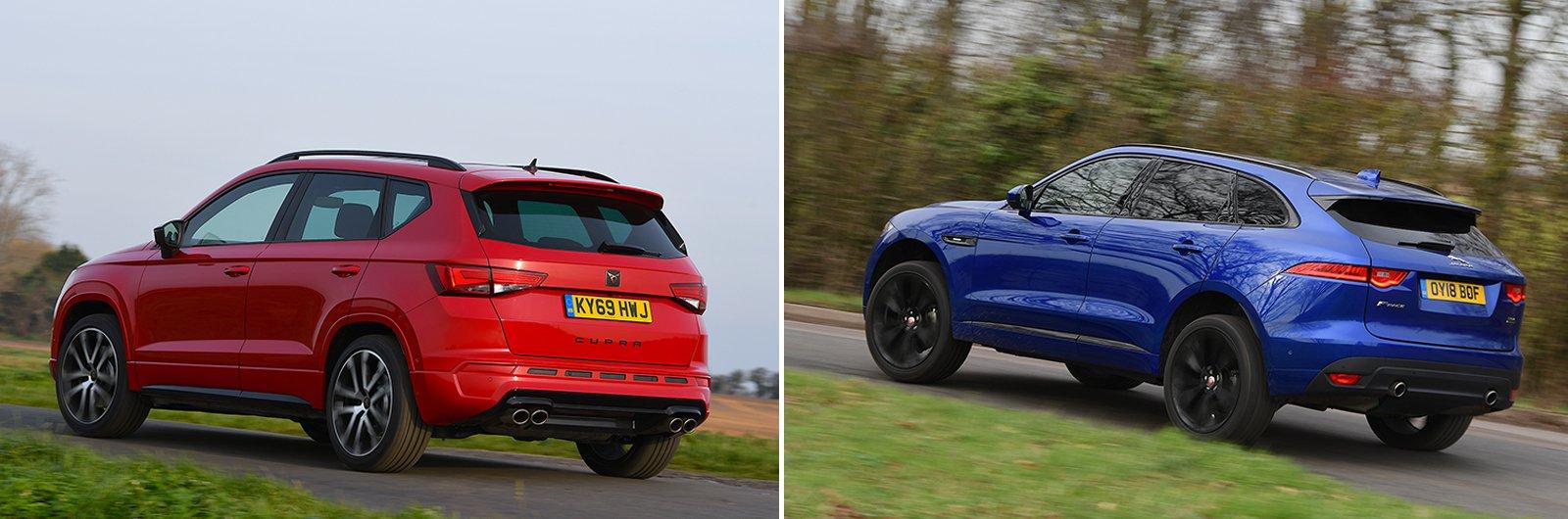 New Cupra Ateca vs used Jaguar F-Pace rear corner