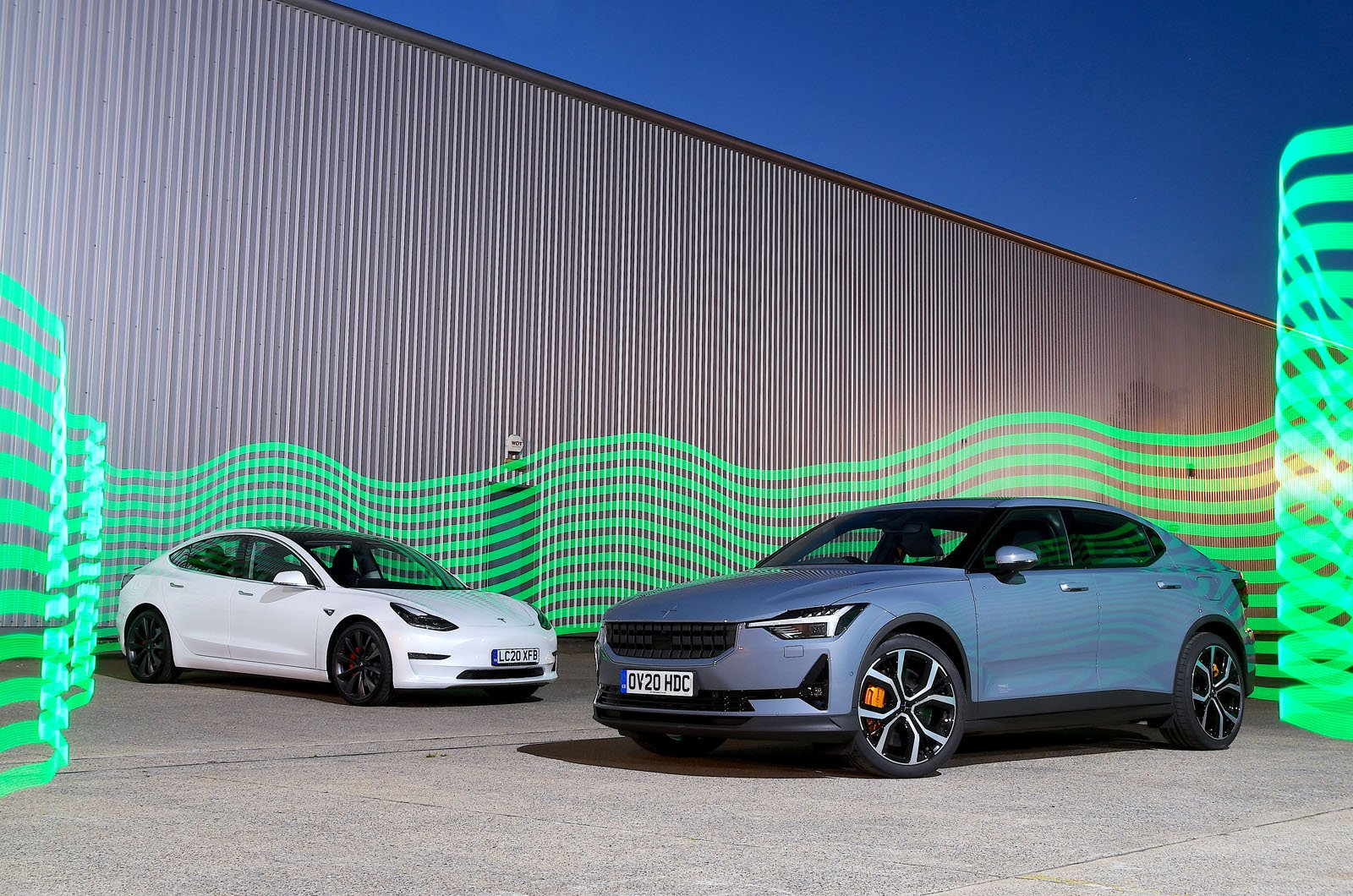 Polestar 2 vs Tesla Model 3 fronts