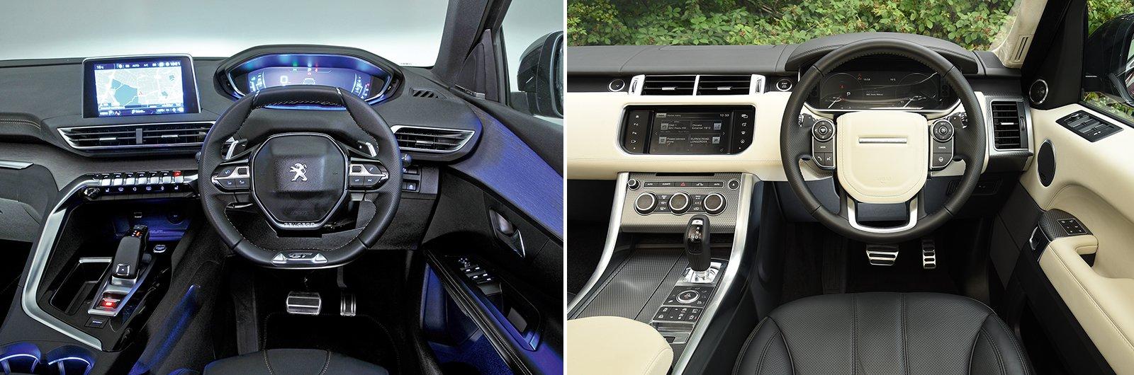 new Peugeot 5008 vs used Range Rover Sport dashboard
