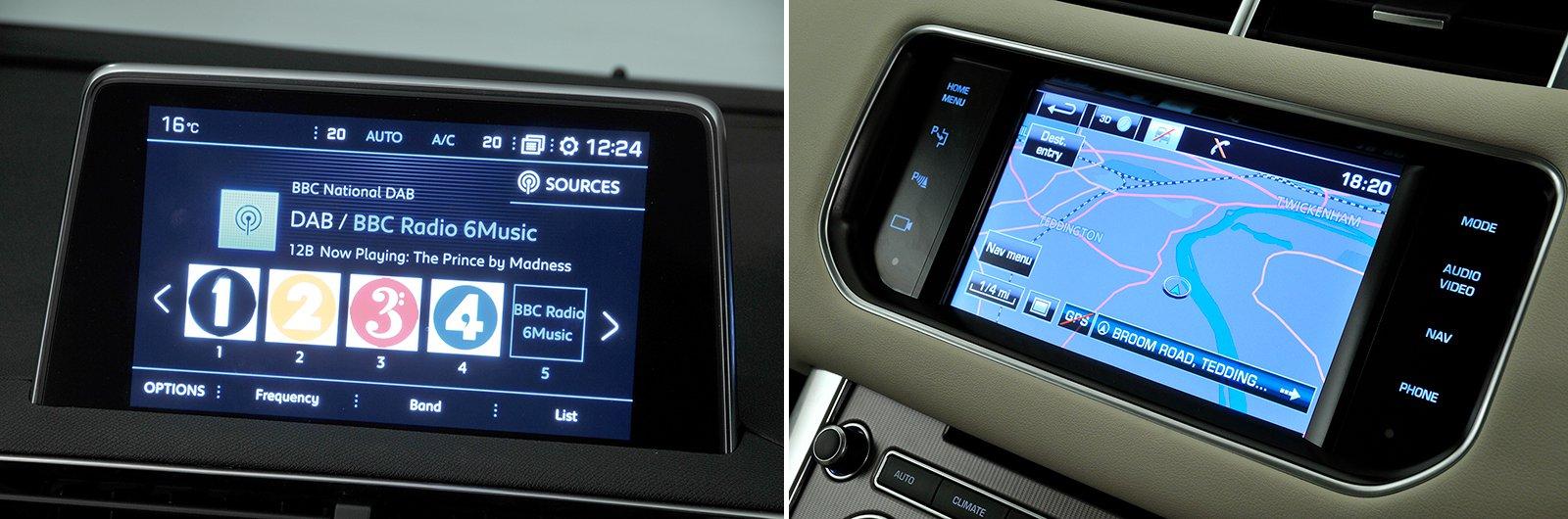 new Peugeot 5008 vs used Range Rover Sport infotainment
