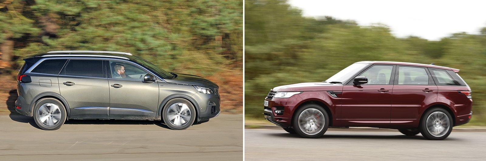 New Peugeot 5008 vs used Range Rover Sport side profile
