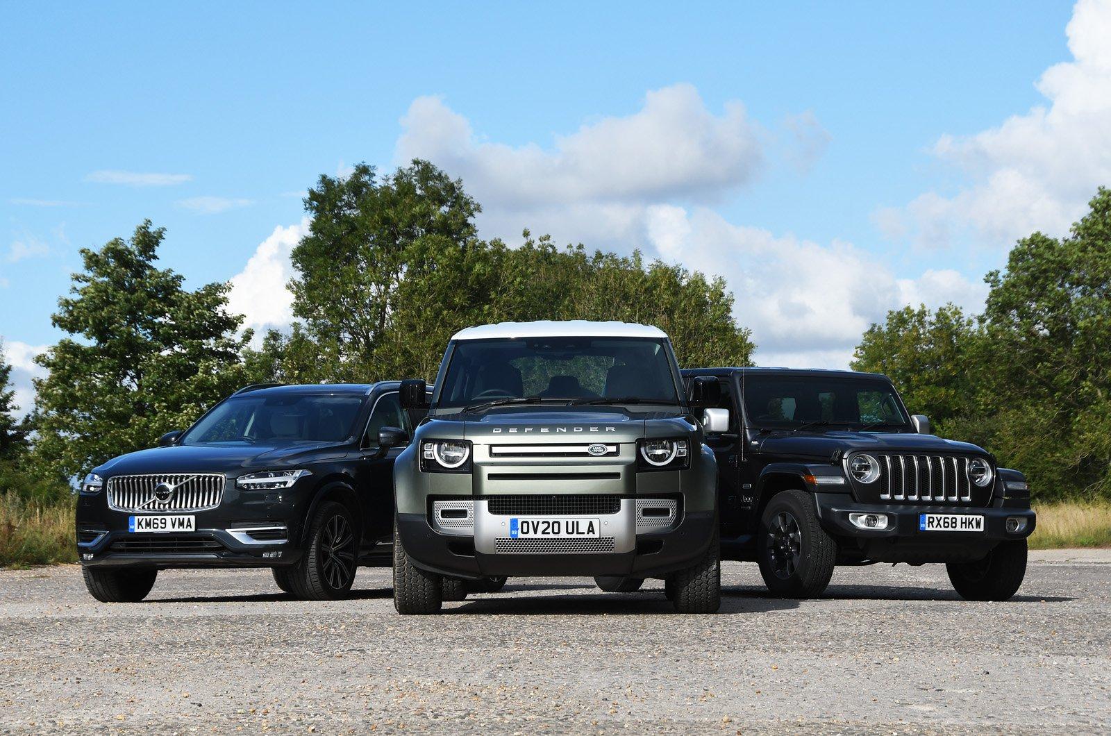 Land Rover Defender vs Volvo XC90 vs Jeep Wrangler closer