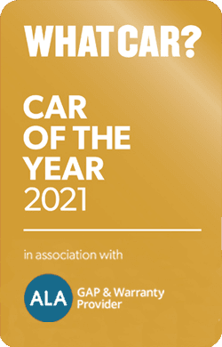 Car of the Year winner badge with sponsor