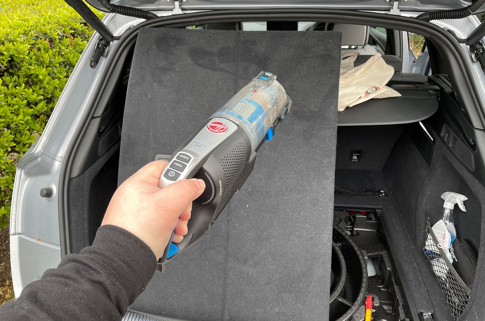 Audi Q5 boot being cleaned