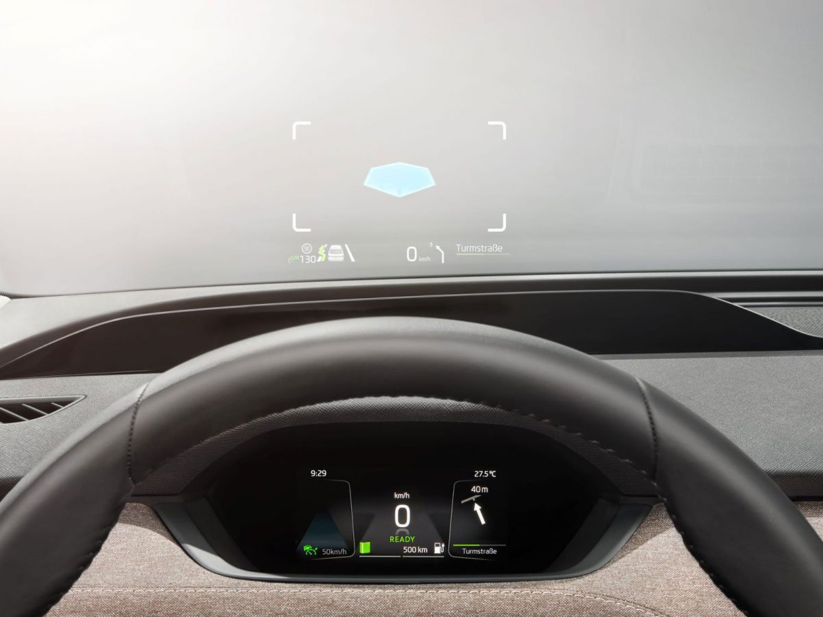 The Skoda Enyaq iV's optional heads-up display uses augmented reality to float key driving information right in your eyeline