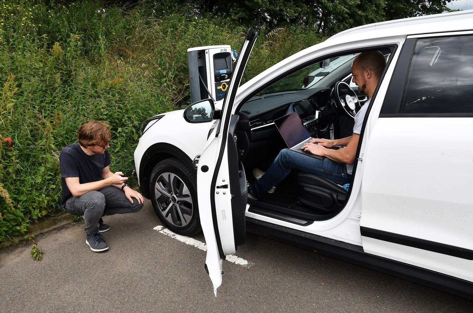 Electric car range test - tyre pressure check