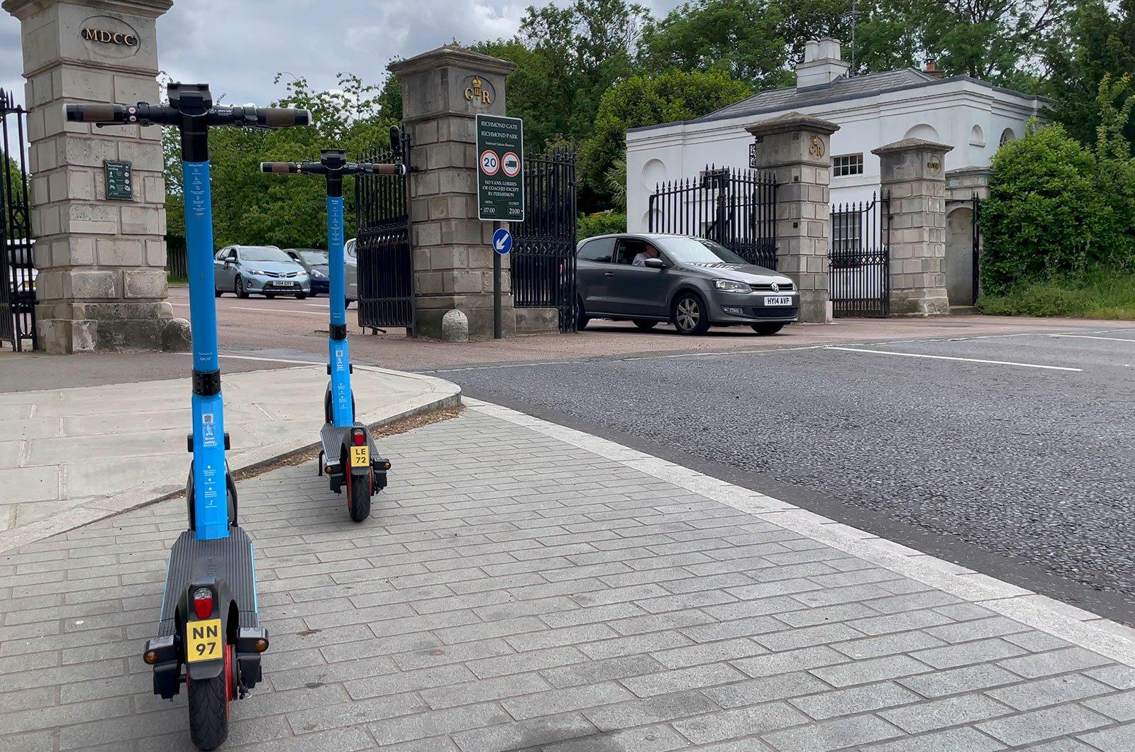 e-scooter outside Richmond Park