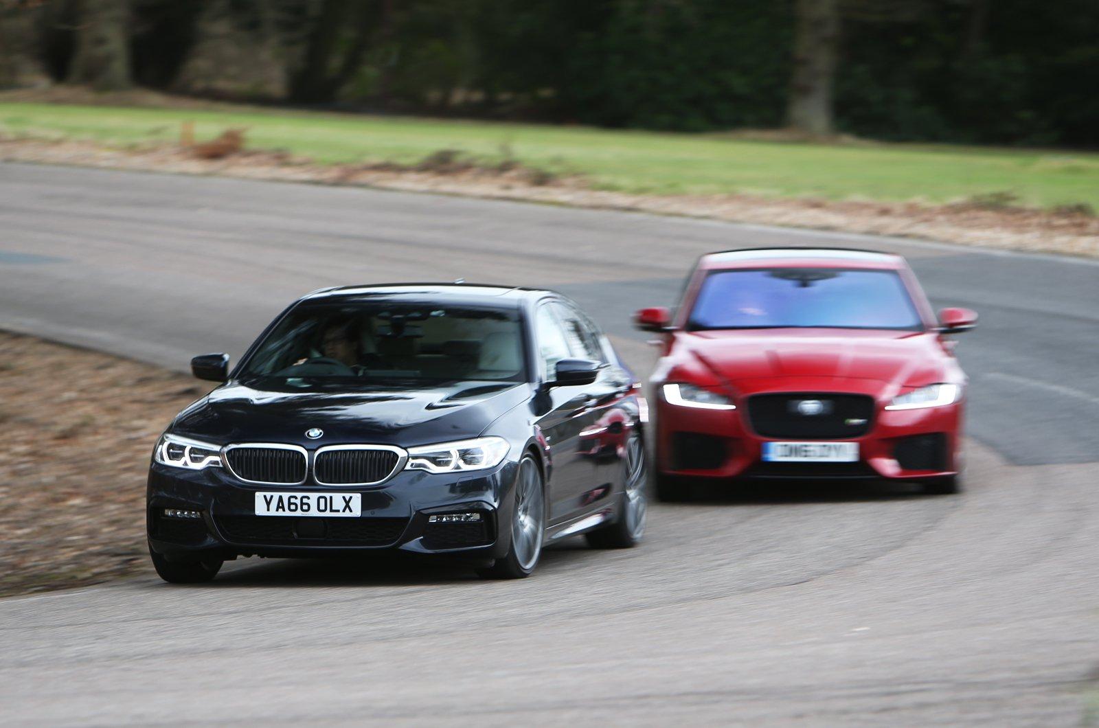 BMW 5 Series vs Jaguar XF cornering