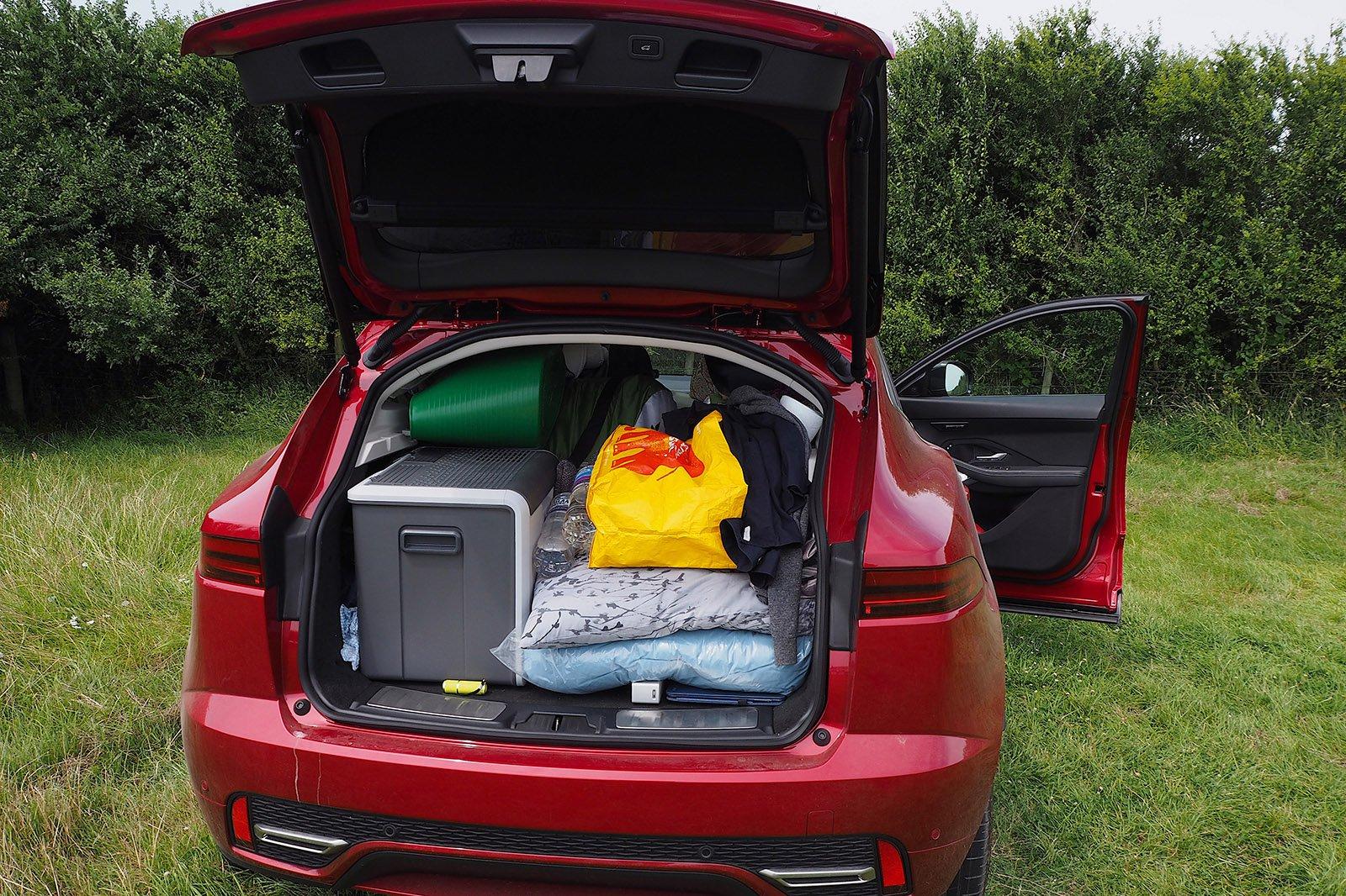 2021 Jaguar E-Pace long-term bootful of camping gear